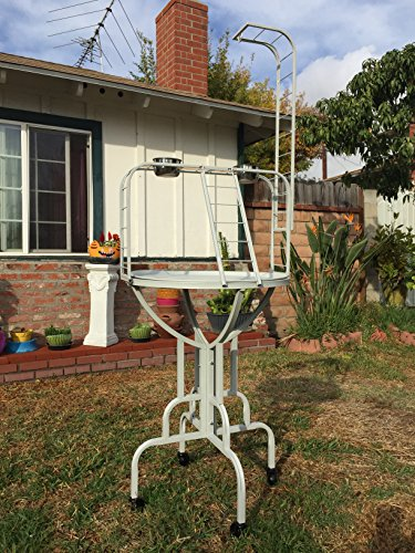 NEW Parrot Bird Play Gym Ground Wrought Iron Stand With Metal Pan And Metal Ladder (White Vein) by Mcage