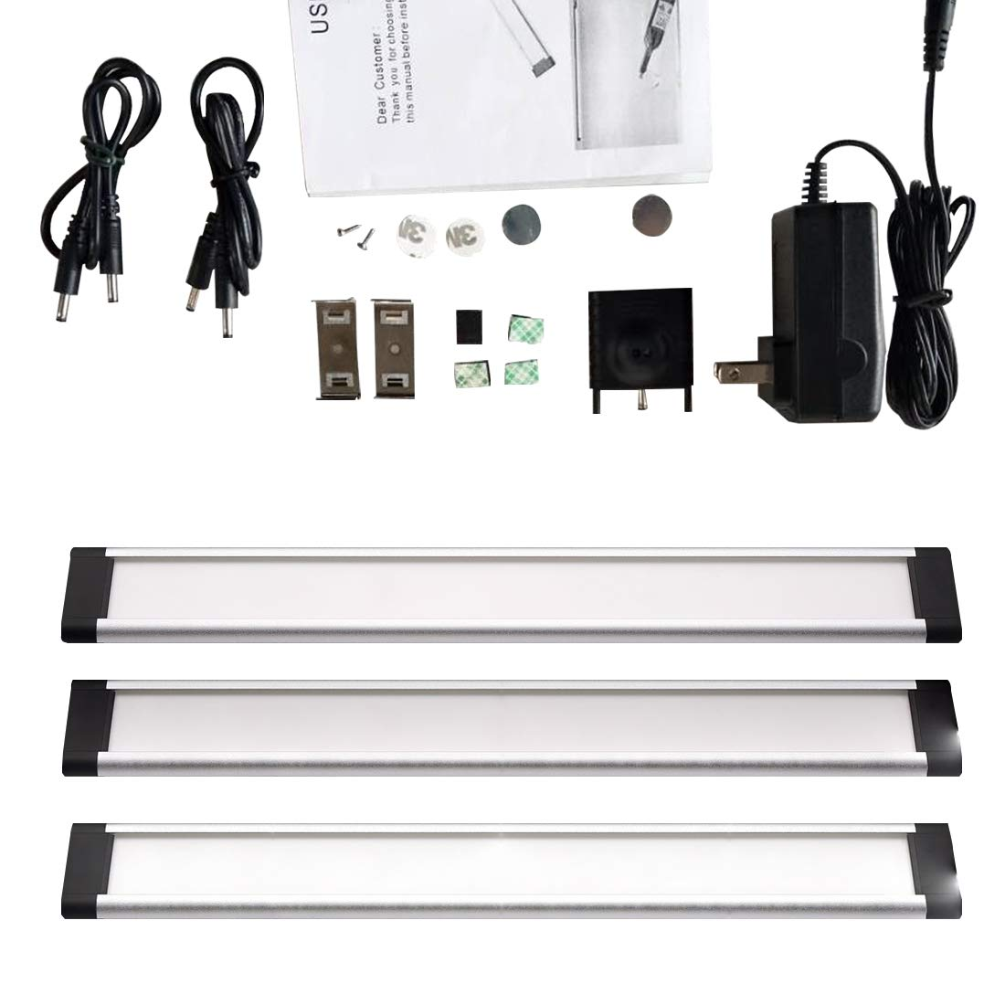 Marivon Under Cabinet Lighting Hand Wave Activated - Touchless Dimming Control LDE Lights Kit Adjusatble Warm White and Cool White (2800K-6500K)