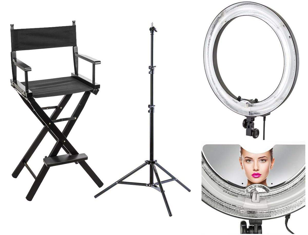 Flashpoint Makeup Artist Ring Light and Chair Kit