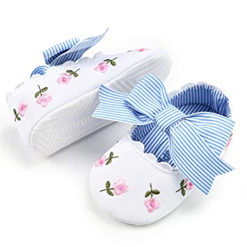 Amazon.com: Cute Infant Baby Girls Embroidery Flower Moccasins Anti-Slip Soft Sole Princess Shoes (Age:0~6 Month, White): Beauty