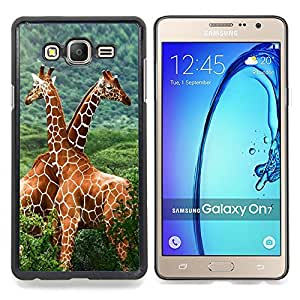 "Qstar Arte & diseño plástico duro Fundas Cover Cubre Hard Case Cover para Samsung Galaxy On7 O7 (La jirafa Amigos"")"