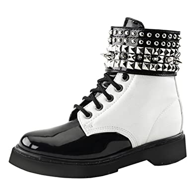 9993cea84d5d Summitfashions Womens Black and White Boots Lace Up Shoes Studded Combat  Boots 1 1 4