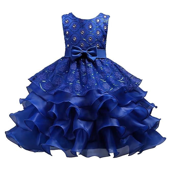 1f7acc25e321 Amazon.com  ZaH Little Big Girls Long Lace Princess Party Dresses ...