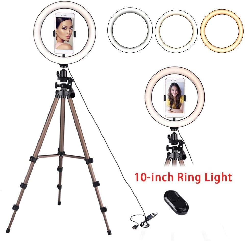 10 con soporte de tr/ípode kit de luz de anillo de c/ámara LED con obturador soporte giratorio para tel/éfono m/óvil de 360 grados para maquillaje Live Stream Anillo de luz de relleno de 6