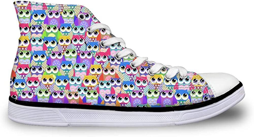 Instantarts Animal Owl Pattern Cute Kids High-top Canvas Shoes Casual Sneakers