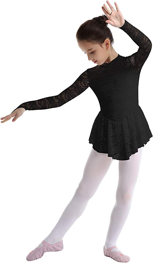 renvena Kids Girls Long Sleeves Mock Neck Floral Lace Keyhole Back Leotard Dress for Ice Figure Roller Skating Black 9-10
