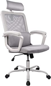 Smugdesk Office Chair, High Back Ergonomic Mesh Desk Office Chair with Padding Armrest and Adjustable Headrest -Gray