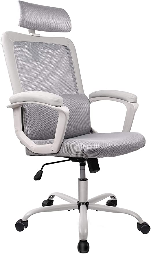 Amazon Com Smugdesk Office Chair High Back Ergonomic Mesh Desk Office Chair With Padding Armrest And Adjustable Headrest Gray Home Kitchen