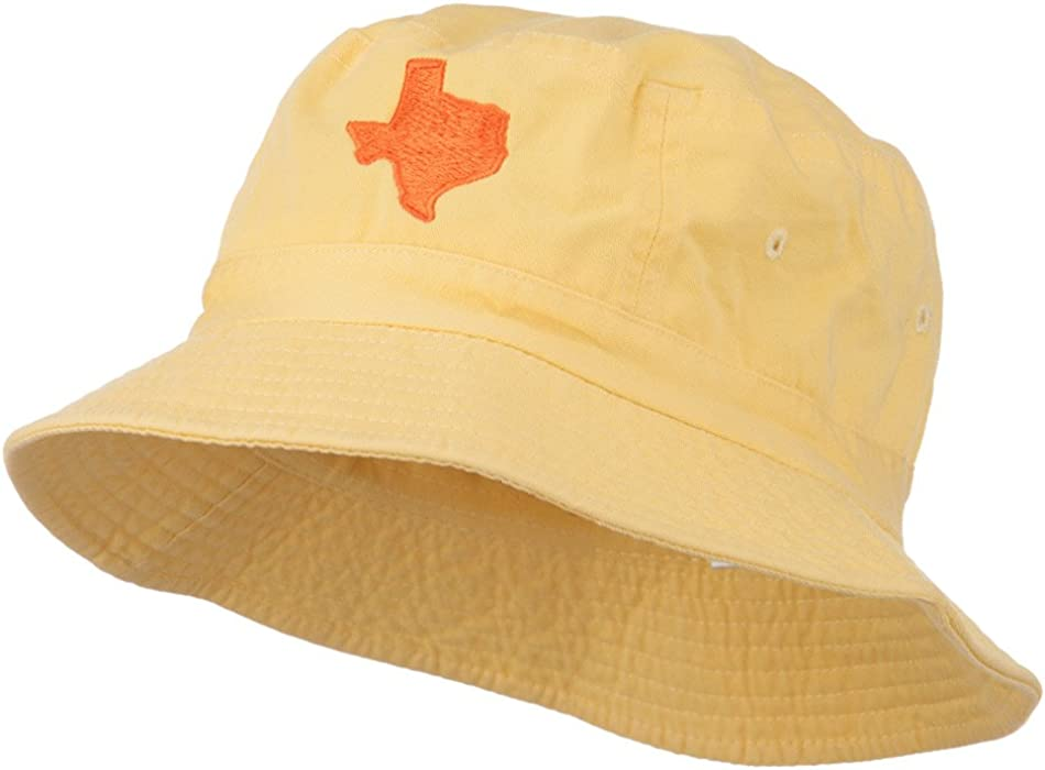 e5f7b506ff508 E4hats Texas State Map Embroidered Bucket Hat - Yellow OSFM at ...