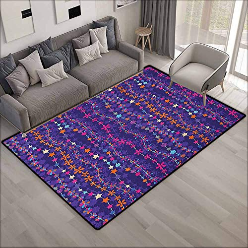 (Indoor/Outdoor Rug,Floral Vertical Wavy Stripes with Vibrant Colored Spring Ornaments Little Blooms and Stars,Anti-Static, Water-Repellent Rugs,5'6