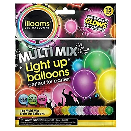 LED Light Up Balloons Pack Of 15 Mixed Color Party