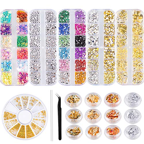 Nail Art Decoration Kit,5 Box Nail Art Rhinestones 12 Pots Foil Flakes Multi Shapes Nail Crystals Diamonds, three-D Decoration Flatback Gem Stones for Charming Acrylic Nails with Pick Up Tweezer and Pencil