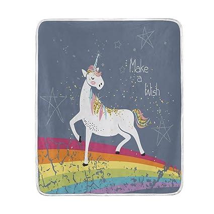 amazon com alaza home decor retro unicorn make a wish quote blanket