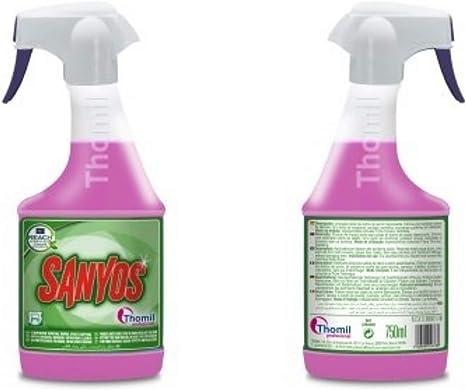 SANYOS LIMPIADOR GENERAL BAÑOS EFECTO ANTICAL Limpiador ácido de baños de acción higienizante. Elimina con facilidad restos de jabones, cal y óxido de mamparas, azulejos y sanitarios.Pistola 750ml: Amazon.es: Hogar