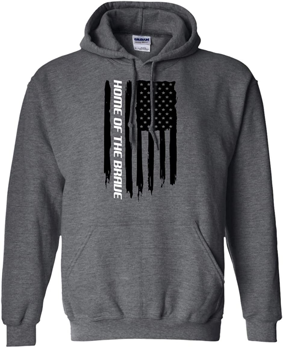 WheelSpinAddict Men's Home of the Brave American Flag Pullover Hoodie