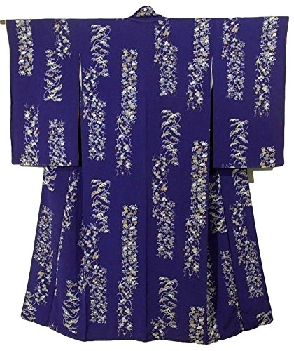 アンティーク 着物 松や椿 四季花の短冊 正絹 袷 裄61.5cm 身丈146cm