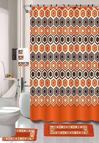 18 Piece Embroidery Banded Shower Curtain Bath Set 1 Bath Mat 1 Contour 1 Shower Curtain 12 Matching Fabric Shower Rings 3 Pcs Matching Towel Set 100% Polyester. (Galaxy Orange ) ()