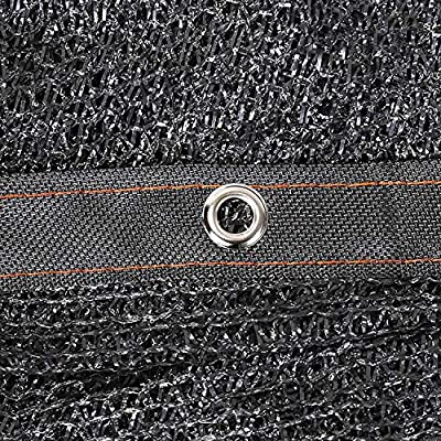 ANUO 50% Shade Cloth Sun Mesh Taped Edge with Grommets for Garden Cover Flowers Plants Patio Lawn Pergola Canopy UV Resistant Net (Color : Black, Size : 6.6x6.6ft/2x2m) : Garden & Outdoor