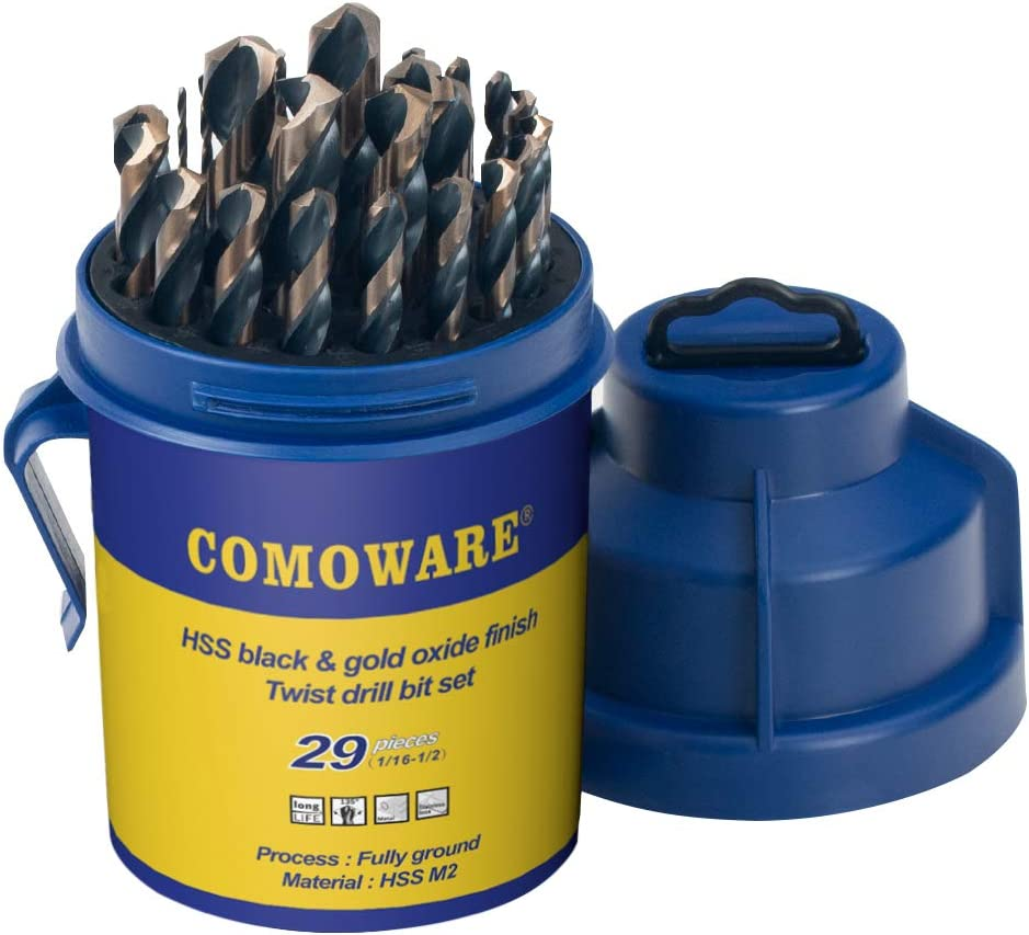 Black and Gold Finish 29 Pcs HSS Heavy Duty Jobber Length Drill Bits In Round Case COMOWARE Drill Bit Set for Metal /& Wood