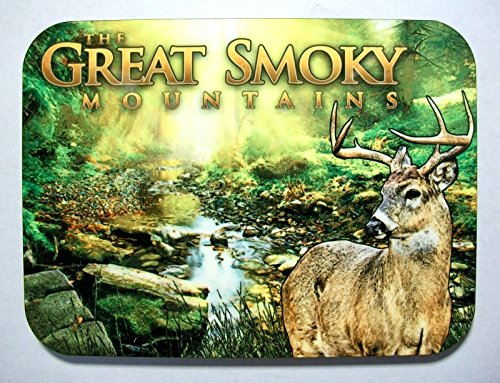 The Great Smoky Mountains with Buck Deer Photo Fridge Magnet Smoky Mountain Deer