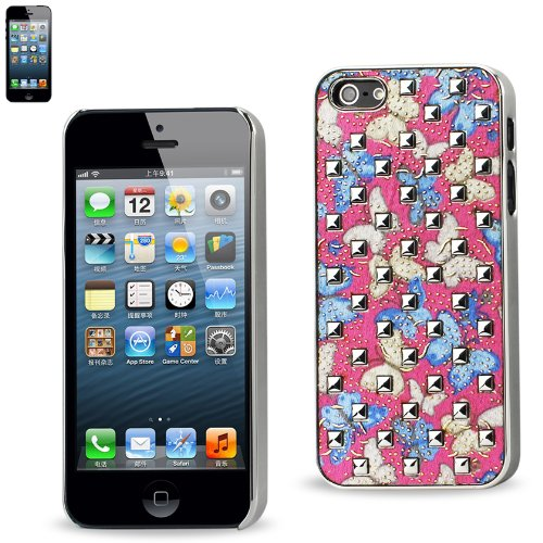 Reiko Beplankungsauflagen Nieten mit Schmetterlingen für iPhone 5S - Blau