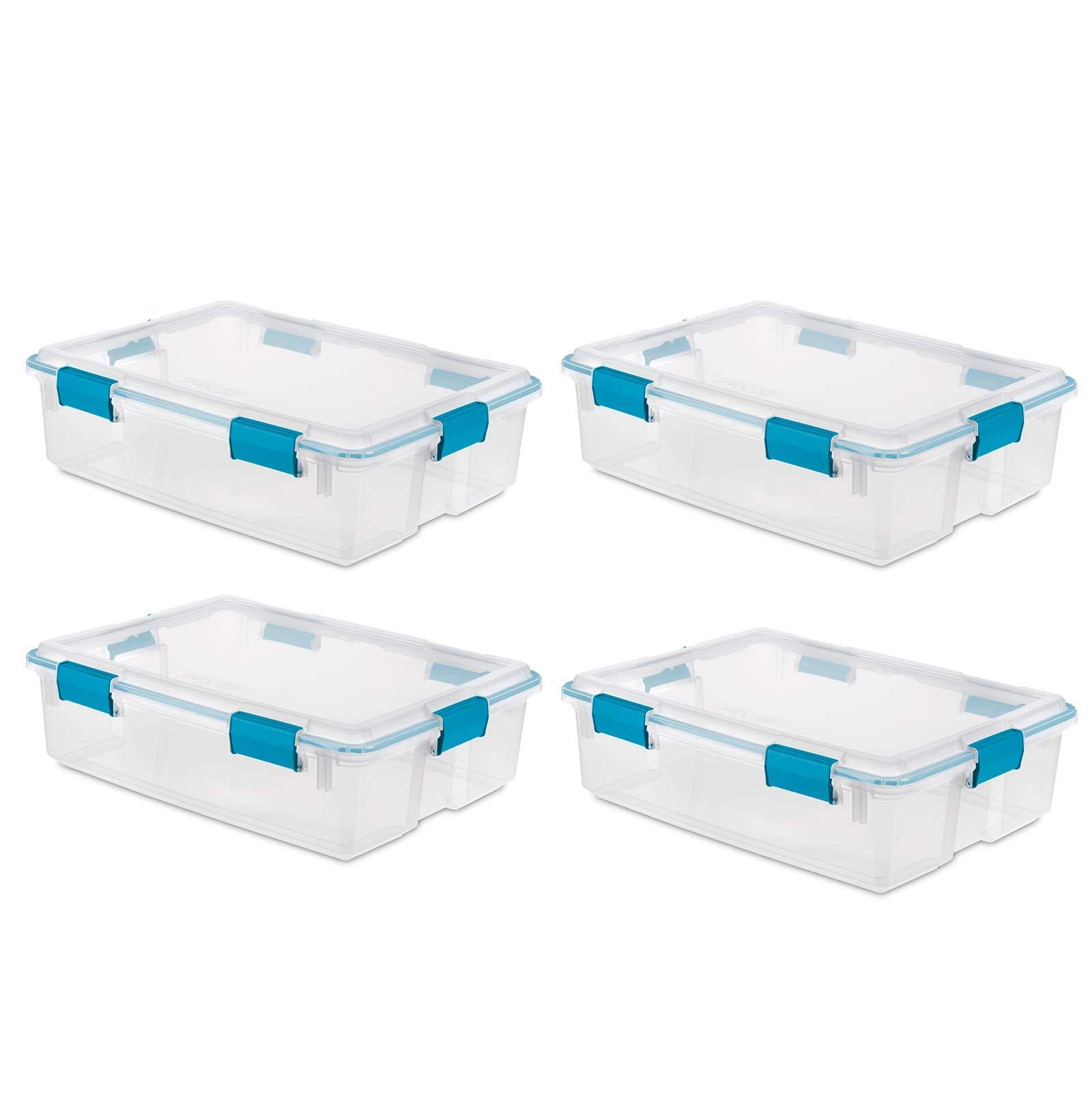 Sterilite 37 Qt Thin Gasket Box Clear Storage Bin Containers, 4-Pack | 19314304 by STERILITE