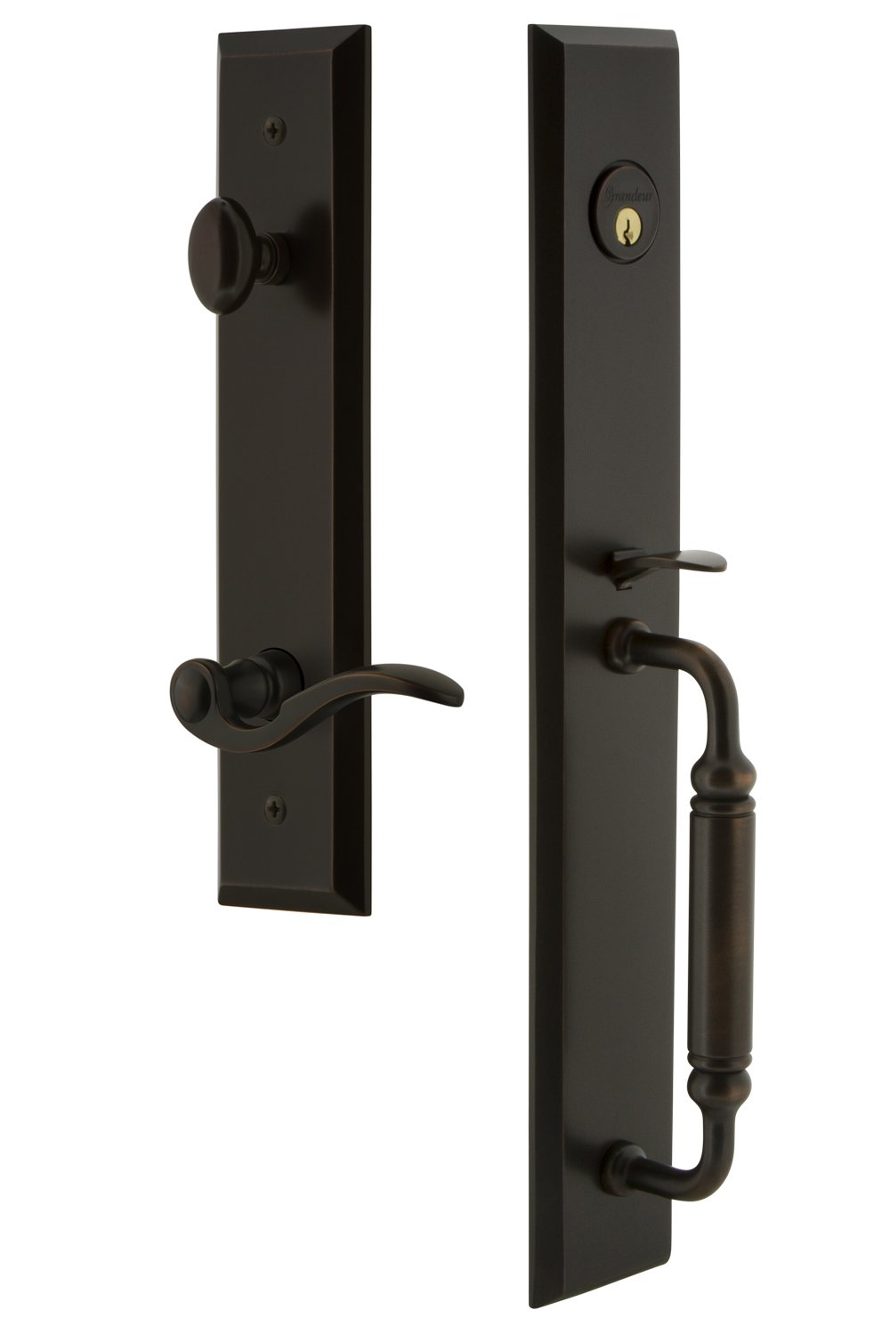 Grandeur 850040 Hardware Fifth Avenue One-Piece Dummy Handleset with C Grip and Bellagio Lever in Vintage Brass