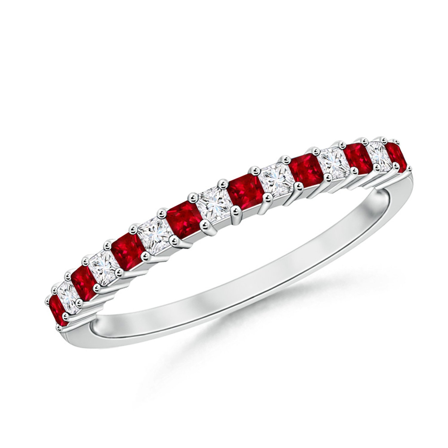 Mother's Day Offer - Square Ruby and Princess Diamond Semi Eternity Classic Wedding Band in Platinum (1.5mm Ruby)