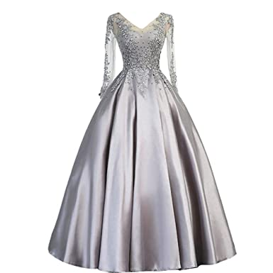 Kivary V Neck Sheer Long Sleeves Silver Beaded Lace Formal Prom Dress Evening Gown US 2