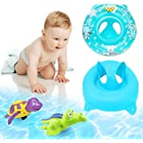 3-36 Months Bath Sets , Safety Kids Inflatable baby Seat ,Infant Pool Float Swimming Toy With Safe Handle,Puls 2 Pieces Bathtub Toys Turtle and Crocodile Wind up Water Toy (Blue)