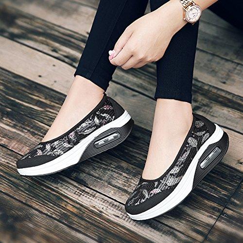 Fitness Shoes On UPS EnllerviiD Sneakers 1616 Black Sequins Walking Women Slip Shape Toning Platform Pqna8UTq
