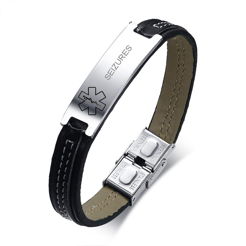 VNOX SEIZURES Medical Alert ID Stainless Steel Leather Cuff Bracelet Wristband for Men Women,8''