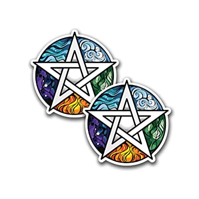 Pentagram Car Decal Stickers for Water Bottles iPad Cases and Laptops Bumper Stickers [ Premium Matte Waterproof Vinyl ]: Automotive