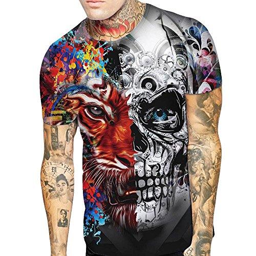 インタラクションである土砂降りHosam Tシャツ 3d プリント カップル お揃い おもしろ Tシャツ 半袖 レディース メンズ T 日々着 イベント 祭り おしゃれ 大きなサイズ (2XL, マルチカラーメンズ)