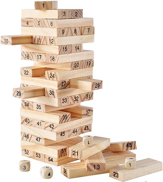 Qys Juego de Beber Juego de Tablero de la Torre de Madera para niños y Adultos, 54 Piezas: Amazon.es: Hogar