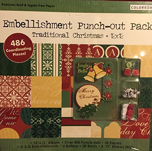 COLORBOK-EMBELLISHMENT PUNCH-OUT PACK TRADITIONAL CHRISTMAS 12''X12''-486 COORDINATING PIECES-OVER 400 PUNCH-OUTS, 30 PAPERS, 3 CD EMBELLISHMENTS, 6 BUTTONS,12 BRADS,2-12''RIBBON STRIPS(ALBUM GREEN)