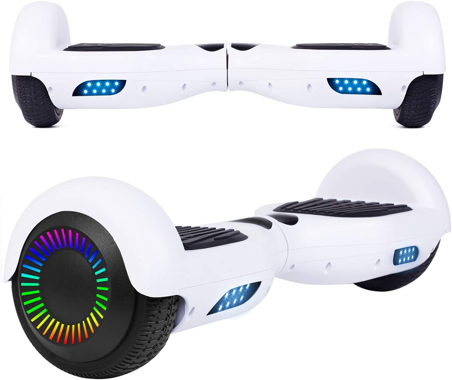 Amazon Com Uni Sun 6 5 Hoverboard For Kids Two Wheel Self Balancing Electric Scooter Hoverboard With Led Lights For Adults Ul 2272 Certified Hover Board White Sports Outdoors