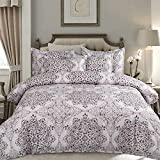 Light Purple Duvet Cover Queen MIMONG Duvet Cover Set with Zipper Closure,Purple&Light Grey Damask Pattern Floral Print Design,Soft Microfiber Bedding,Queen/Full Size(90