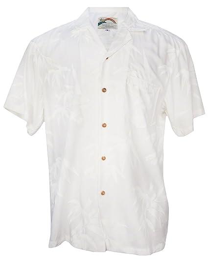eb85d41d Paradise Found Aloha Bamboo - Men's Hawaiian Print Aloha Shirt - White -  Small