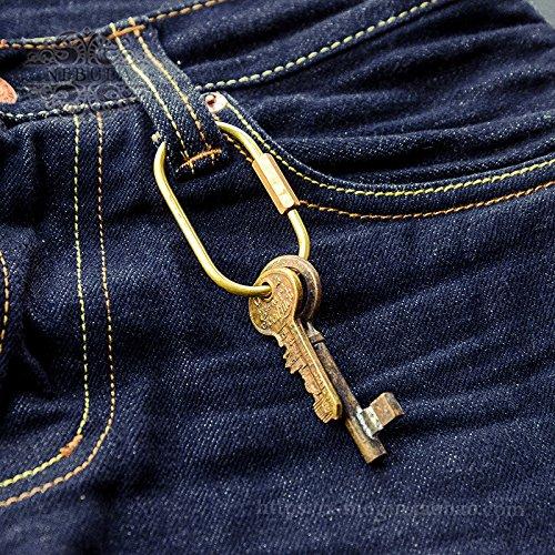 Zonyeo 2pcs Nordic ovale à la mode durable faite à la main Laiton Doré Pendentif en métal de voiture porte-clés Creative EDC exquis Keychain
