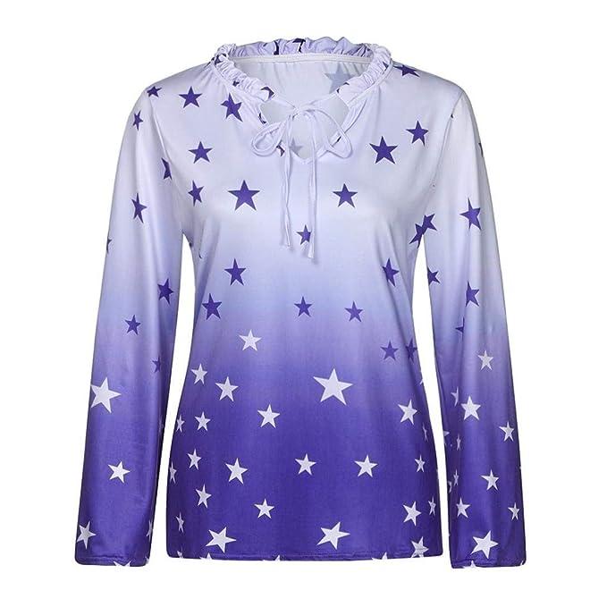 Shirt Mujer Manga Larga V-Cuello Impresión Estrellas con Tops Camisetas Sencillos Bandage Elegantes Informales