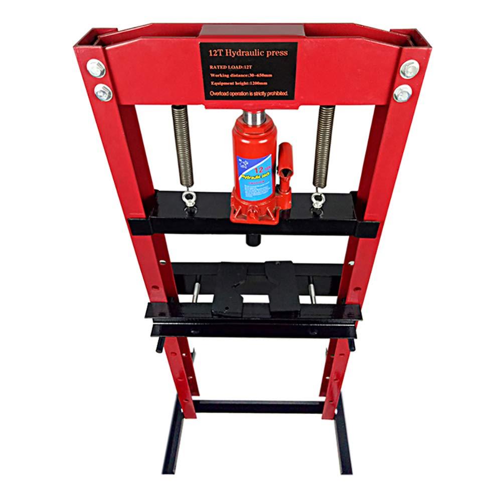 DKIEI 12 Ton Hydraulic Workshop Garage Shop Floor Press Bottle Jack Pressing Plates Bearing Black