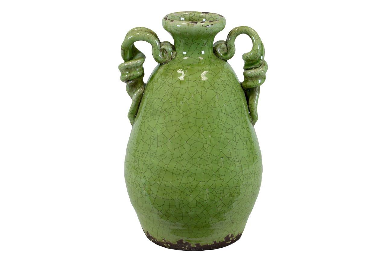 Plutusブランド従来ダブル耳とCurledデザインTuscanセラミック花瓶、グリーン B016UV9468