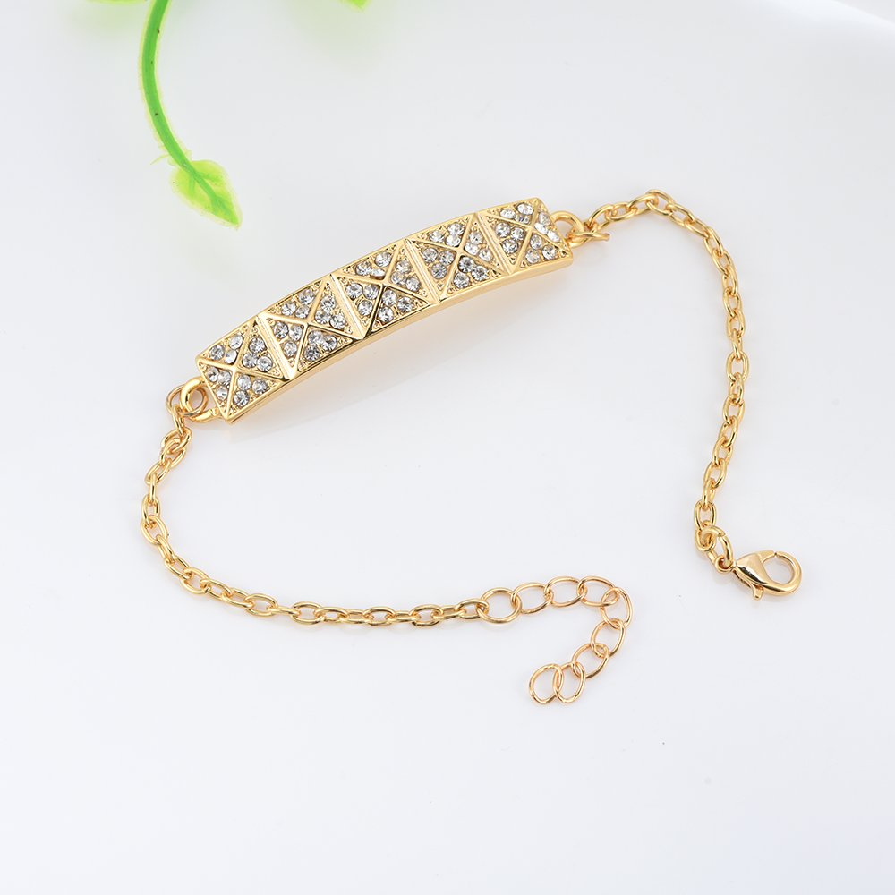 SJ SHI JUN Rose Gold//Gold//Silver Alloy Metal Wire Bracelet with Shiny Crystal