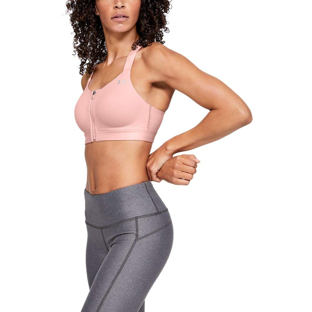 Under Armour Women's Eclipse High Impact Front Zip Sports Bra, Ballet Pink (981)/Metallic Silver, 32DD by Under Armour