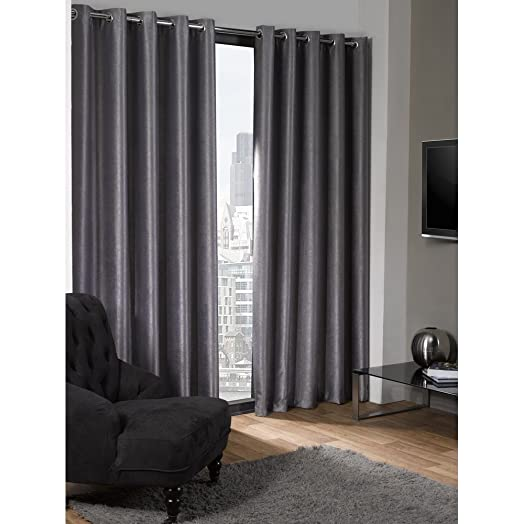 Superior Luxury Logan Textured Silver Eyelet Ring Top Thermal Blackout Curtains  (66u0026quot; Wide X 54u0026quot
