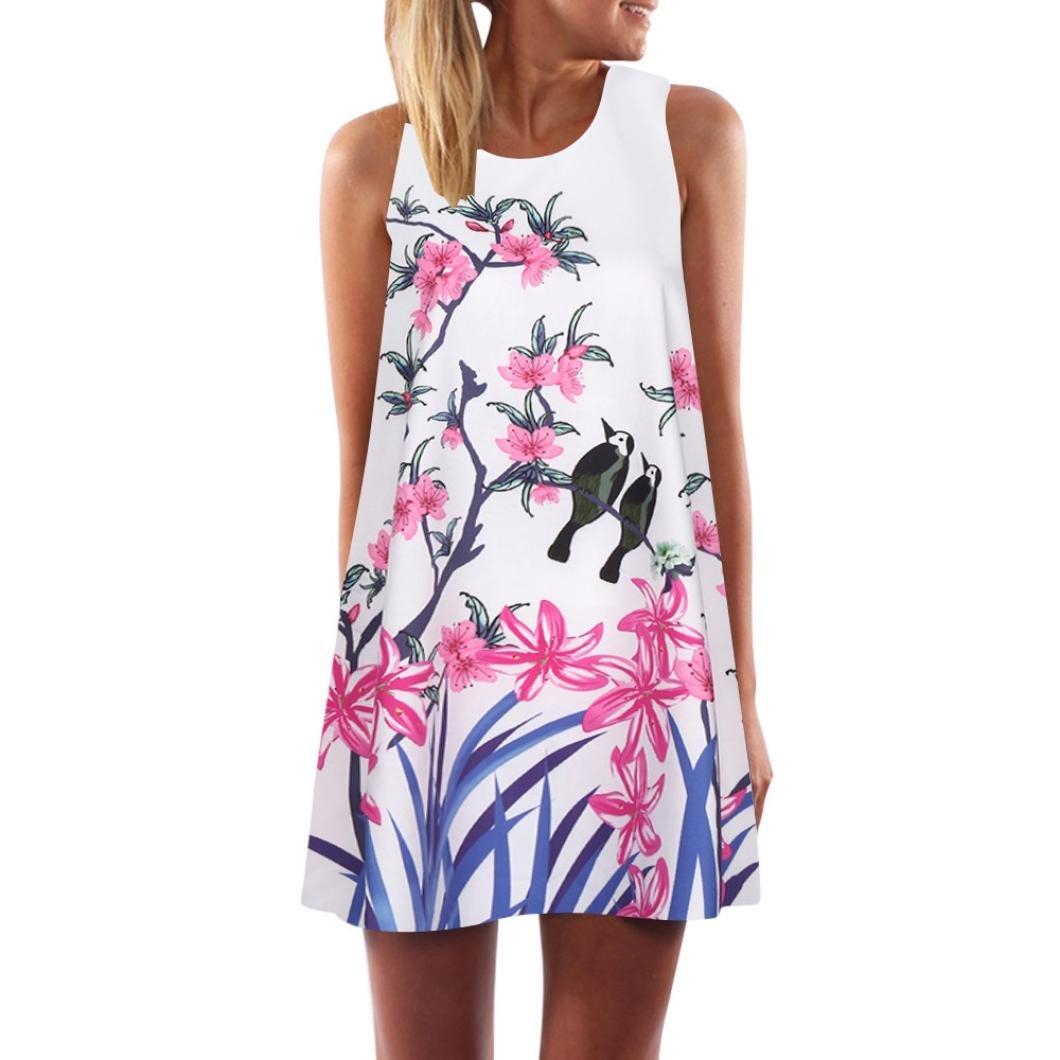 SEWORLD 2018 Damen Sommer Mode Frauen Vintage Boho Frauen Sommer Ärmellosen O-Ausschnitt Strand Gedruckt Kurze Beiläufig Minikleid