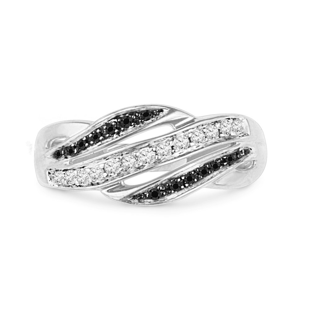 Sterling Silver Black And White Round Diamond Fashion Ring (1/5 cttw)