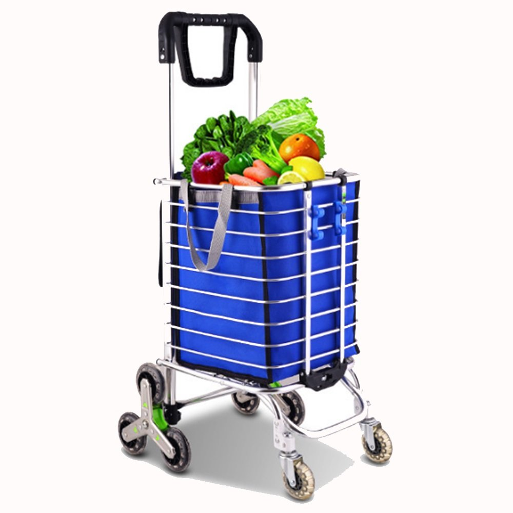 NAN 食べ物カートを買うために手を回す360°折り畳み式の携帯用トロリーカートトロリーレバーホーム荷物トレーラー トレーラー (色 : 青) B07DZGZRVS  青