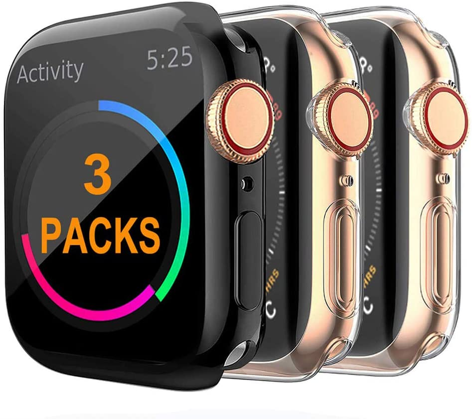 COPERBRI Case Compatible Apple Watch Screen Protector 38mm Series 3 Series 2, Soft TPU All-Around High Clear Ultra-Thin Overall Protective Cover for iWatch 3-Pack(1 Black+2 Clear, 38mm (Series 3/2/1))